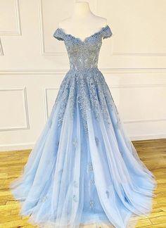 Blue Lace Prom Dress, V Neck Prom Dresses, Blue Evening Dresses, Formal Dresses, Dress Long, Light Blue Prom Dresses, Blue Grad Dresses, Periwinkle Blue Dress, Pageant Dresses