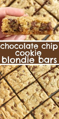chip cookie blondie bars are a chewy cookie bar loaded with chocolate . - Sweets -Chocolate chip cookie blondie bars are a chewy cookie bar loaded with chocolate . Blonde Brownies, Quick Dessert Recipes, Bar Recipes, Bake Goods Recipes, Bar Cookie Recipes, Easy Yummy Desserts, Sweet Recipes, Easy Dessert Bars, Dessert Simple