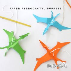 Make a paper pterodactyl puppet with this free printable template