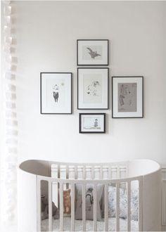 mod crib, frames, artwork, grey