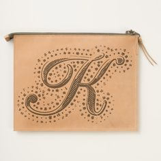 #custom #Cute Themed #gifts #hearttravelpouch #esoticadesigns -  Monogram K Leather Travel Pouch