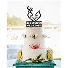 Mr and Mrs Hunter Antler Wedding Cake Toppers Personalized Last Name and Wedding…burlap wedding cake Antler Wedding, Deer Wedding, Wedding Table Names, Wedding Cake Rustic, Card Box Wedding, Wedding Ideas, Wedding Burlap, Wedding Reception, Date Cake