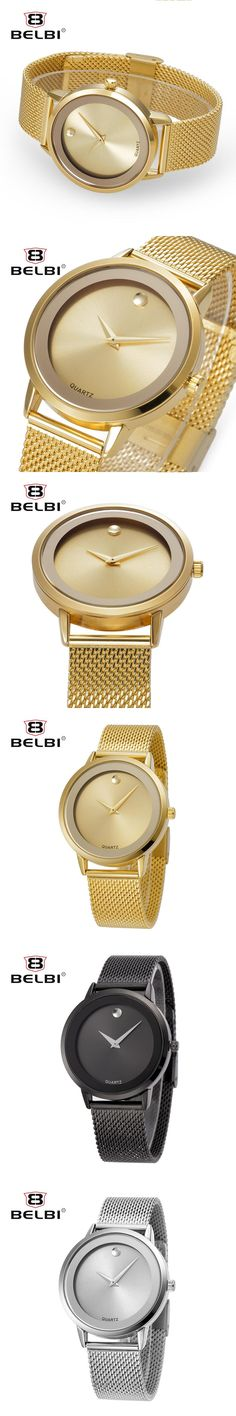 Fashion Simple Stylish Top Luxury Brand BELBI Watches womens Japan Movements Steel Mesh Waterproof Quartz-watch zegarki damskie