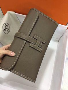 Hermes Jige Clutch Bag Orange Epsom Rare GM Size 29cm by 19cm Q ...