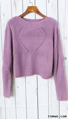 Pale Purple Hollow Out Long Sleeve Sweater http://bellanblue.com