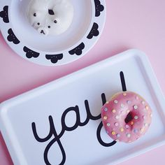 Yay tray! Celebrating with sugar pink and sweet donuts. Cute party decor from Buddy and Bear.