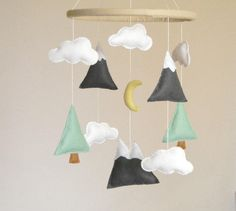 Mountains Baby Mobile, Baby Crib Mobile, Modern Nursery mobile, Felt Mountains and Tree, Mountain nursery decor, Cloud from Rainbowsmileshop on Etsy.