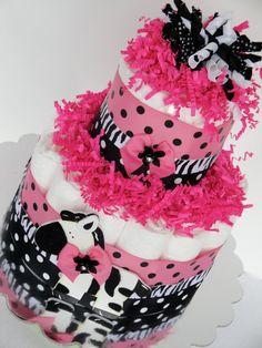 Baby Diaper Cake - Pink & Black Polka Dot Zebra Baby Girl Mini Diaper Cake Shower Centerpiece - 2 Tier. $50.00, via Etsy.