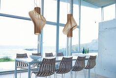 """Diva"" pendant lamp from Northern Lighting, Norway, composed of 32 steam bent wood strips. Nifty ability to use either side up."