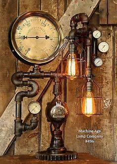 Steampunk Lamp Industrial Machine Age Steam Gauge Light Train Nautical Loft Gear | Collectibles, Lamps, Lighting, Lamps: Electric | eBay!