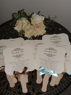 Wedding Fans with Program. Great idea for hot weather weddings!!