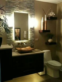 half bathroom ideas - Want a half bathroom that will impress your guests when entertaining? Update your bathroom decor in no time with these affordable, cute half bathroom ideas. House Design, Tropical Bathroom, Bathroom Makeover, Home Decor, Half Bathroom, Bathrooms Remodel, Bathroom Design, Bathroom Decor, Beautiful Bathrooms
