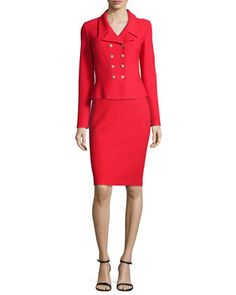 Nouveau Boucle Knit Spencer Jacket, Scoop-Neck Shell & Pencil Skirt by St. John Collection at Neiman Marcus.