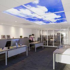 XTRA Makelaardij - Hellevoetsluis | Lumick Standard   www.lumick.com    Interior Design - Healing Environment - Office Design - Healing Office  #skyceiling #skypanel #cloudceiling #wolkenplafond #fotoplafond