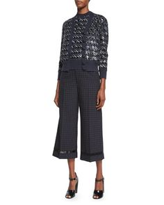 Marc Jacobs Houndstooth Sequined Knit Cardigan, Houndstooth Sequined Knit Sweater & Cropped Wide-Leg Beaded Pants Fall 2015