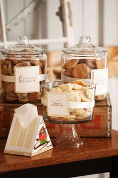 These jars are perfect for a wedding reception table outside. (lids to keep the cookies fresh)  Target and Walmart have these very cheap.