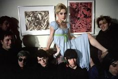 """The Factory regular Edie Sedgwick poses with Andy Warhol and The Velvet Underground after filming Warhol's """"LUPE"""" - a film about a Hollywood socialite who commits suicide. Sienna Miller, Andy Warhol, Rock N Roll, Everybody's Darling, Poor Little Rich Girl, Edie Sedgwick, Lady Godiva, American Actress, Superstar"""