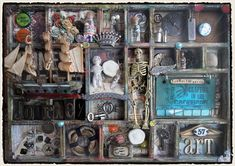 make a small curio cabinet configuration tray w halloweeny stuff in it for the entry wall