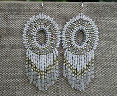 chandelier earrings, wedding earrings, boho earrings, dangle earrings, statement earrings, long fringe earrings, seed beads earrings, beaded fringe earrings, native earrings, white earrings, fringe earrings, handmade jewelry, handmade earrings, beadwork, OOAK - are pretty and elegant