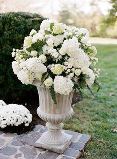 white hydrangea urn
