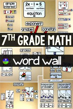 With references for constant of proportionality, scale factor, equations, expressions, angle pairs, complex fractions, independent and dependent probability, area, perimeter, circumference, integers, inequalities, percents and simple interest, this word wall is a great addition to an 7th grade math classroom.
