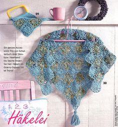 Crochet shawl Crochet Granny, Crochet Shawl, Crochet Lace, Free Crochet, Crochet Ideas, Crochet Scarves, Crochet Clothes, Cape Pattern, Crochet Woman