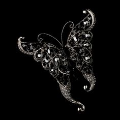 Ring Pillow with Silver Clear Butterfly Brooch