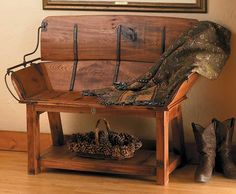 Buckboard Bench - Full Back Style designed from an Horse Drawn Sleigh Seat Chalk Crafts, Bench Decor, Small Woodworking Projects, Vintage Winter, Outdoor Living Areas, Take A Seat, Upcycled Furniture, Entryway Tables, Foyer