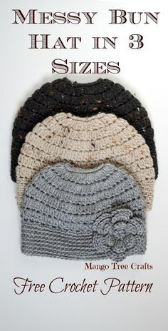 Messy Bun Crochet Hat Pattern | Use the cluster stitch to work up this easy pattern
