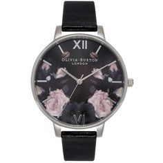 Olivia Burton Enchanted Garden Watch - Black Mirror & Silver ($125) ❤ liked on Polyvore featuring jewelry, watches, mirrored jewelry, silver jewelry, black jewelry, floral print watches and kohl jewelry