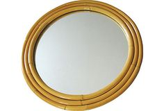 Vintage ART DECO Style Round Rattan Mirror by fabulousmess on Etsy, $350.00