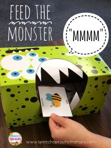 Feed The Monster Articulation Activity - Speech Sprouts Therapy Halloween Speech Therapy Activities, Preschool Speech Therapy, Speech Therapy Games, Speech Language Therapy, Preschool Activities, Play Therapy, Therapy Ideas, Speech Therapy Toddler, Toddler Speech Activities
