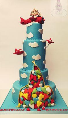 Baptism aviator cake #bari #cakedesign #cake #birthday  #tortaexpress #festedicompleanno #party  #fondant  #cakelover #sugarartist #sugar #topcake #cakedesigner #sugarpaste #fondantcake #gumpaste #baptism #aviator