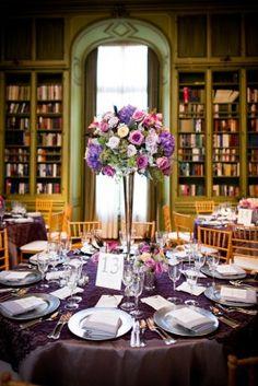 Grey and Purple Wedding Centerpieces Round Table Centerpieces, Purple Wedding Centerpieces, Flower Centerpieces, Wedding Decorations, Tall Centerpiece, Round Tables, Flower Decorations, Floral Wedding, Fall Wedding