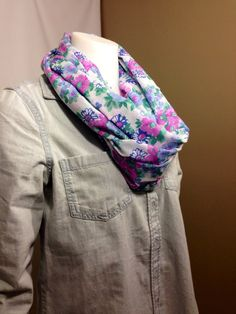 Floral Print Infinity Scarf-Spring Circle Scarf on Etsy, $15.00 CAD