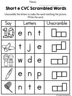 Short e Scrambled CVC Words >> Children unscramble the letters to spell the CVC word.
