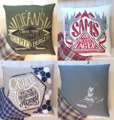 Supernatural - Team Free Will Trio Pillow Covers - Hand Printed and Sewn