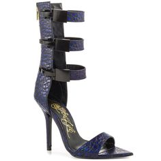 LUST FOR LIFE TRIBE HUE BLUE & BLACK PRINT LEATHER TRIPLE BUCKLE SINGLE SOLE #LUSTFORLIFE #OpenToe #SpecialOccasion