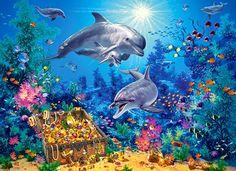 The Family Wall Art, Canvas Prints, Framed Prints, Wall Peels Dolphin Family, Jigsaw Puzzles For Kids, Diamond Picture, Koi, Family Wall Art, Fantasy Images, 5d Diamond Painting, Diamond Drawing, Drawing Skills