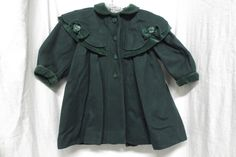 Rothschild Vintage Forest Green Coat w/Bows Sz 3T