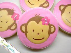 one more week Sock Monkey Party, Monkey Birthday Parties, First Birthday Party Themes, 1st Birthday Decorations, Birthday Cake Girls, Birthday Cookies, Birthday Ideas, Curious George Party, Curious George Birthday