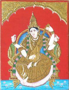 Tanjore Saraswati Painting Handmade Indian Thanjavur Hindu Goddess Religious Art