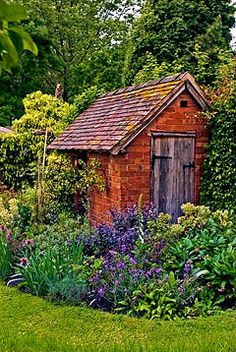 Brick shed in the border