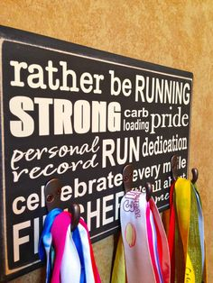 Medal Display Holder - Marathon, Half Marathon - Running Subway Sign via Etsy www.frameyourevent.com