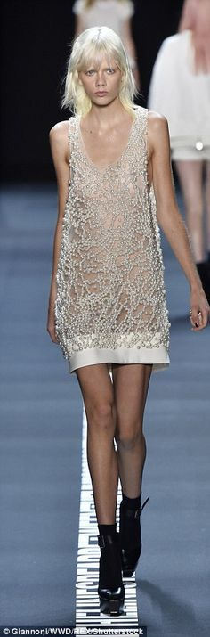 Gorgeous: Standout pieces included cocktail dresses with heavy pearl-like…