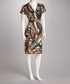 Take a look at this Made In Heaven Turquoise & Tan Abstract Surplice Dress by Analogy & Made in Heaven on #zulily today!