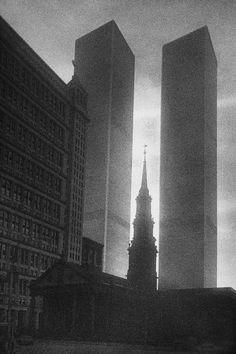 Twin Towers, NYC, by René Groebli.