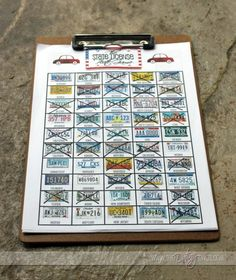 Printable License Plate game for a road trip. Her whole post has lots of road trip ideas.