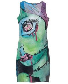 This is a watercolor painting of a zombie girl on a simple dress.