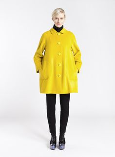 Ylle jacket from Marimekko Marimekko, Ale, Dedicated Follower Of Fashion, Blue Coats, Yellow Fashion, Wool Coat, What To Wear, Your Style, Winter Fashion